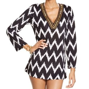 La Blanca Night Waves V-neck Tunic Cover-up NWT